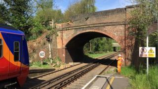 Railway bridge damage at Frimley