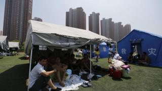 People gathered in shelters in China