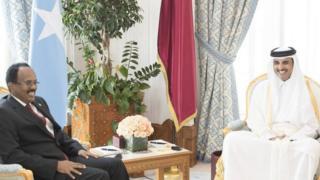 Madaxweyne Farmaajo oo la qoslaya amiirka Qatar