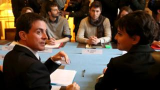 French Prime Minister Manuel Valls (left) meeting student and other youth leaders, 11 Apr 16