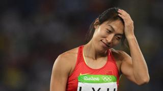 China's Lyu Huihui reacts in the women's javelin throw final