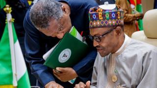 President Muhammadu Buhari and Foreign Affairs Minister, Geoffrey Onyeama