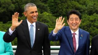 US President Barack Obama and Japanese Prime Minister Shinzo Abe in Japan.