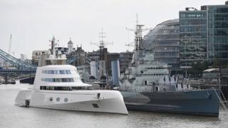 Yacht on Thames belonging to Russian billionaire Andrey Melnichenko