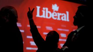 Liberal supporters react as they watch results roll in at Canadian Prime Minister Justin Trudeau's election night headquarters