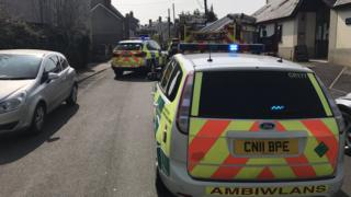 Emergency services at the scene of the accident in Laugharne