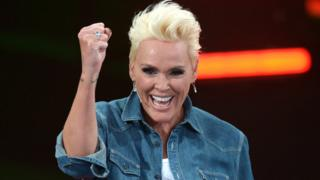 "Brigitte Nielsen reacts after winning the final of the German version of ""I'm A Celebrity Get Me Out Of Here"""