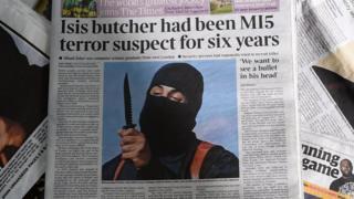 """Газетная страница с фотографией """"джихадиста Джона"""""""