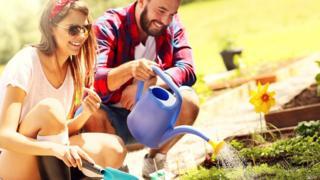 Мужчина и женщина сажают что-то у себя на огороде