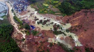 The site of a landslide caused by heavy rains brought by Typhoon Megi, in Sucun Village, Lishui, Zhejiang province, China, September 29, 2016.