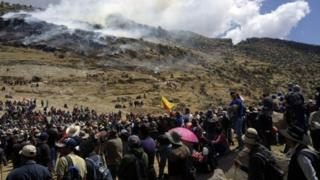 People protest in front of Las Bambas mine project where a clash between police and locals protesting against the copper mine project in the Apurimac region left 4 dead people on 28 September, 2015