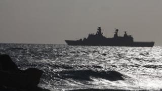 Kıbrıs açıklarında bir gemi