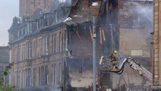 Demolition work begins after Glasgow tenement collapse
