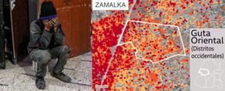 Mapa que muestra los daños en Zamalka, Guta Oriental
