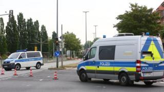 Police cordon in Dresden, 24 May 18