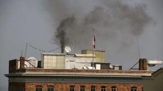 La humareda generó preocupación entre los vecinos del consulado ruso en San Franscisco.
