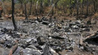 The wreckage of a military helicopter is pictured at the crash site near Villa Purificacion on 5 May, 2015.