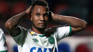 Willian Thiego, of Brazil's Chapecoense, reacts during a match against Argentina's San Lorenzo in Buenos Aires, Argentina, on 2 November