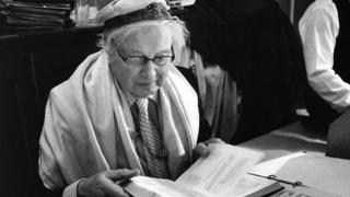 Rudi Leavor in a prayer shawl at the synagogue