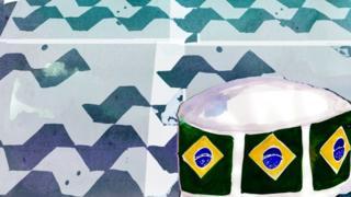 Ilustración de un plato de comida de perro decorado con banderas brasileñas