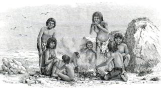 Ilustração retrata indígenas da Terra do Fogo, no extremo sul da Argentina