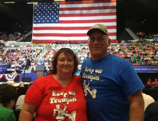 This happy couple chose to celebrate their wedding anniversary with Trump and his supporters