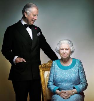 Official 90th birthday portrait of Queen Elizabeth II with Prince Charles, The Prince of Wales