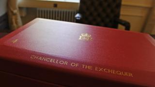 Red briefcase traditionally used to hold the UK budget documents