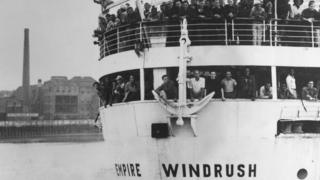 Empire Windrush arriving in the UK in June 1948