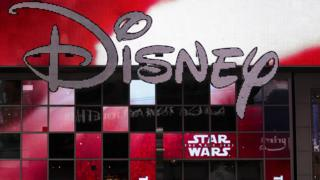 The Disney logo outside the Disney Store in Times Square, New York