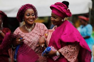 Women wearing traditional attires attend a traditional wedding at Ikeja marriage registry in Lagos, Nigeria, May 5, 2018