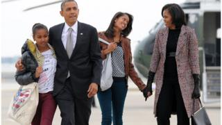 President Barack Obama with First Lady Michelle and daughters Sasha and Malia