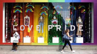 Pride decorated shop window
