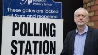 Jeremy Corbyn at polling station