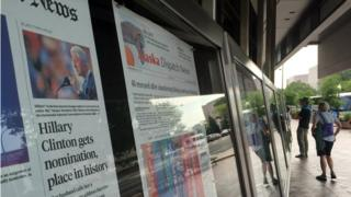 The Newseum in Washington displays front pages from 50 states - Hillary Clinton is only on 19 of them