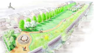 Artist' impression of Riverside Walk and Park