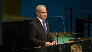 Maldives' Foreign Minister Mohamed Asim addresses the 71st session of the United Nations General Assembly at U.N. headquarters, Saturday, Sept. 24, 2016.