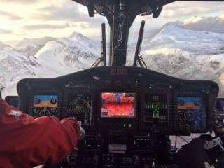 View from cockpit from Inverness Coastguard helicopter