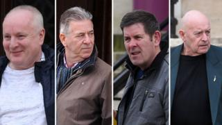 Alan Godfrey, 66, Christopher Price, 68, Robert Pye, 66, and Stephen Russell, 66, leaving court