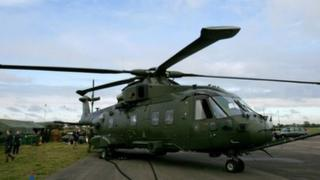 A Merlin HC3, a variant of the AgustaWestland AW-101 helicopter family