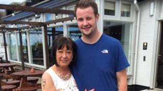 Lewis Jones with his mother Maureen