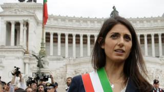 Rome's Mayor Virginia Raggi leaves Rome's Vittoriano Unknown soldier monument