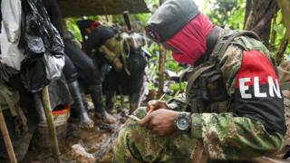 Members of the Ernesto Che Guevara front, belonging to the National Liberation Army (ELN) guerrillas