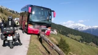 Emergency response at the site of a bus crash on the Zillertaler Hoehenstrasse (High Road) near the town of Kaltenbach, Austria, 24 September 2017