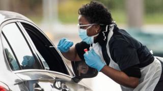 Drive-through coronavirus testing in Chessington