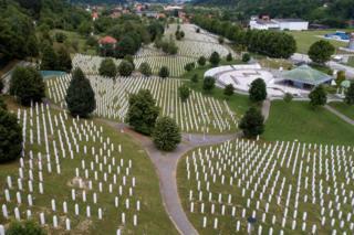 An aerial view of the Memorial Center in Potocari near Srebrenica, Bosnia and Herzegovina, 6 July 2020