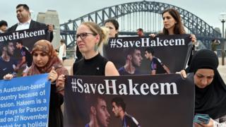 #SaveHakeem กลายเป็นแฮชเท็กเรียกร้องโดยกลุ่มพิทักษ์สิทธิมนุษยชนในนครซิดนีย์ ให้ทางการไทยปล่อยตัวนายฮาคีม