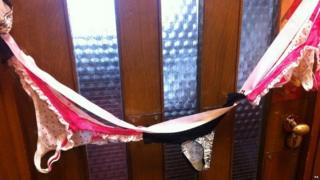 Image of pants and other underwear on Sir Christopher Chope's office door - supplied to PA by fellow MP Caroline Lucas