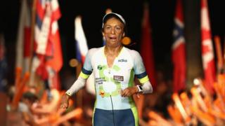 Turia Pitt crosses the finishing line at the Ironman World Championships in Kona, Hawaii