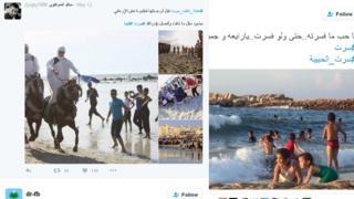 Screengrabs of Twitter feeds
